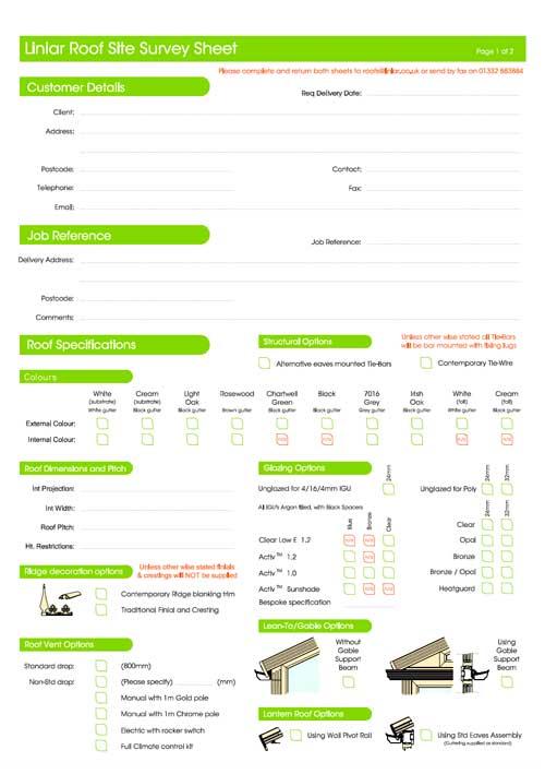 liniar roof site survey sheet