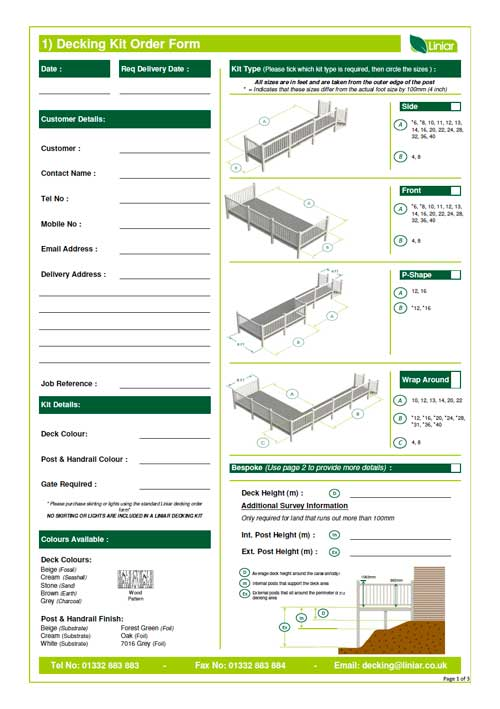 decking kit order form from liniar